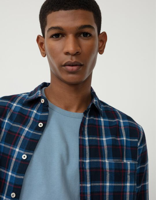 Warm Chequered Shirt for Men, Blue/ Red