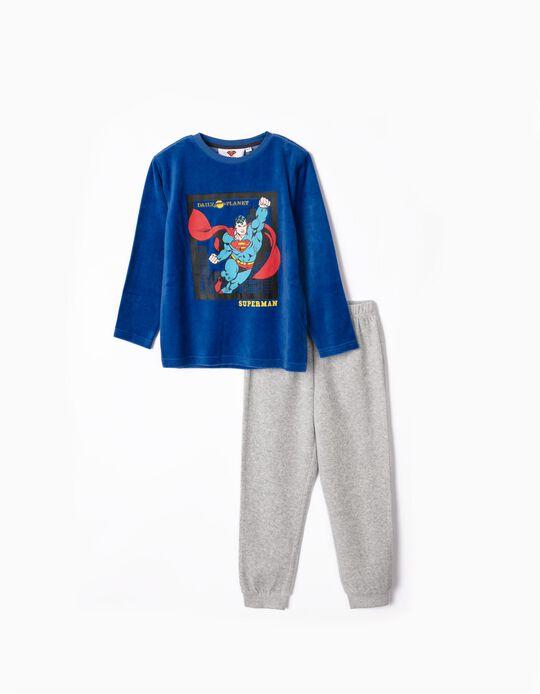 Pijama com Capa para Menino 'Superman', Azul/Vermelho/Cinza