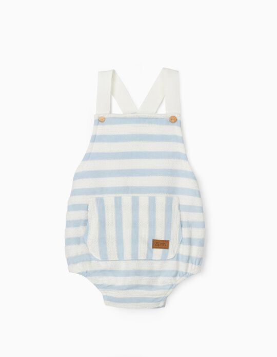 Striped Playsuit for Newborn Baby Boys, Blue/White