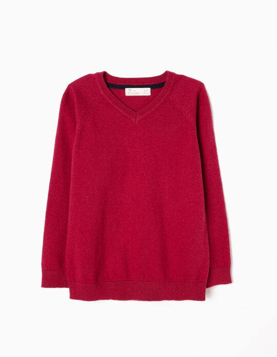 Fine Knit Jumper, Dark Red