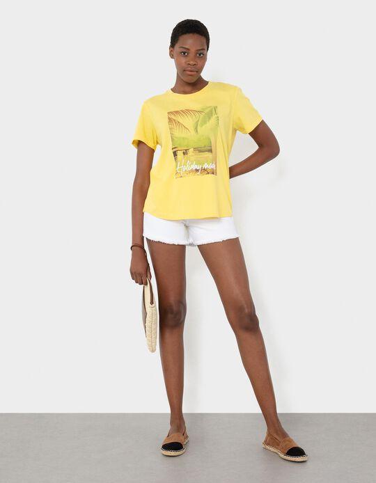 T-shirt com Estampado, Mulher