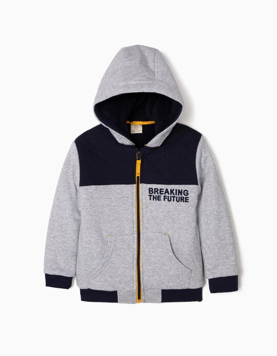 Hooded Jacket for Boys 'Breaking the Future', Grey/Dark Blue