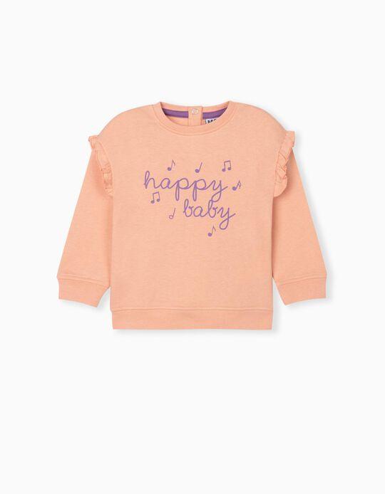 Ruffled Sweatshirt, Baby Girls, Orange