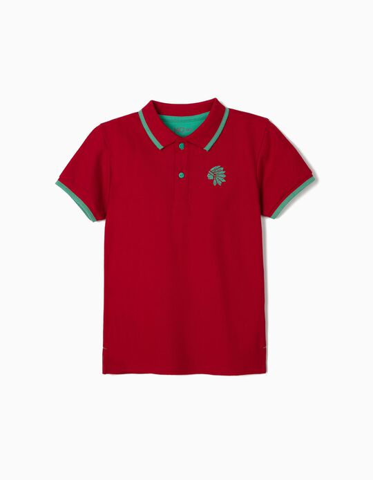 Short Sleeve Red Polo Shirt for Boys