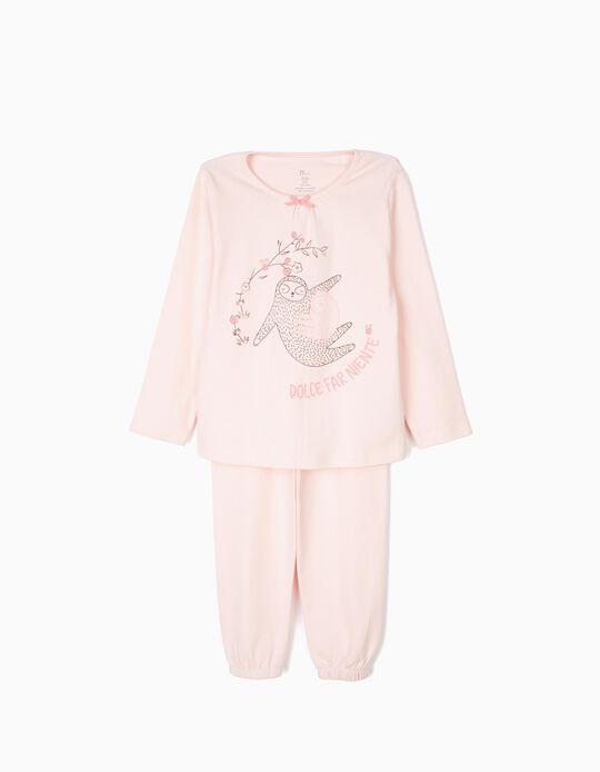 Pijama para Menina 'Dolce Fare Niente Sloths', Rosa Claro