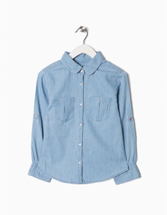 Camisa de Ganga para Menina, Azul Claro