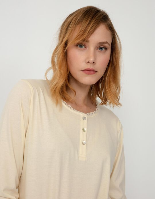 Long Sleeve Pyjama Top for Women, White