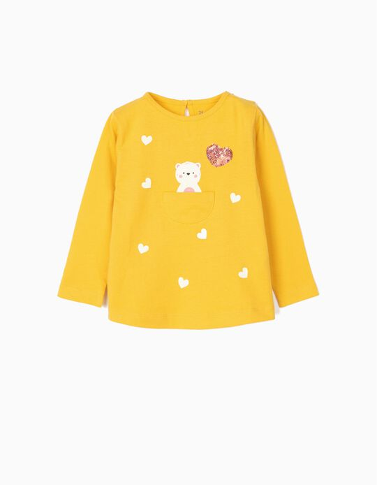 Long-sleeve Top for Baby Girls 'Cute Bear', Yellow