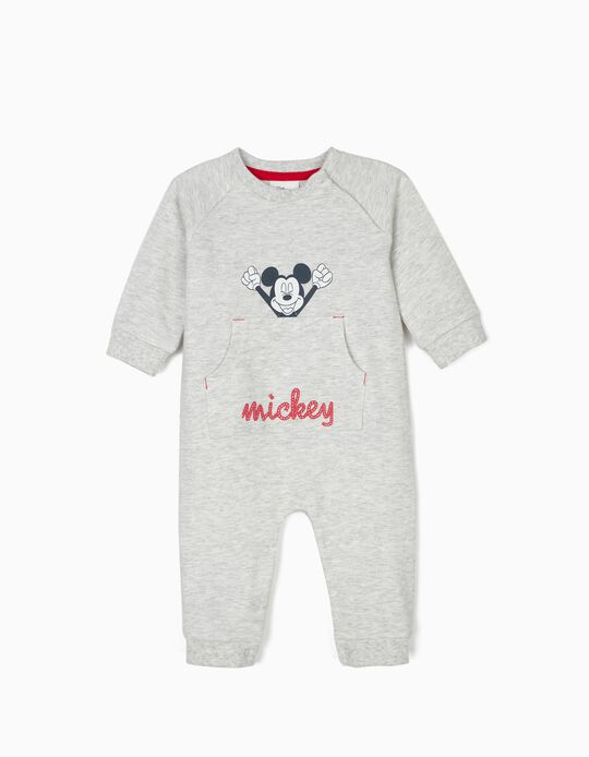 'Mickey Mouse' Jumpsuit for Newborn Babies, Marl Grey