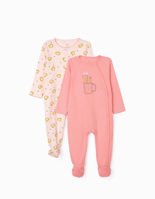 2 Sleepsuits for Baby Girls 'Pencils', Pink