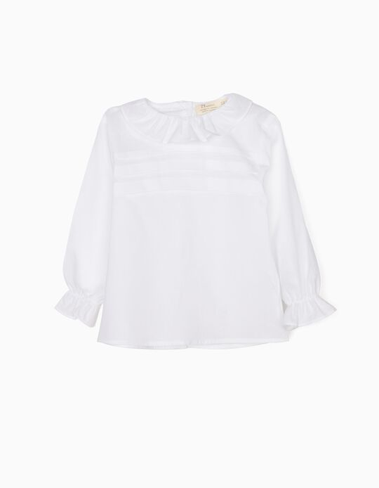 White Blouse with Pleats & Ruffles
