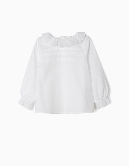 Blusa com Folhos para Menina 'B&S', Branco