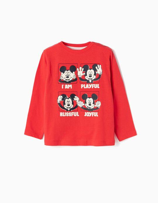 T-shirt Manga Comprida para Bebé Menino 'Mickey', Vermelho