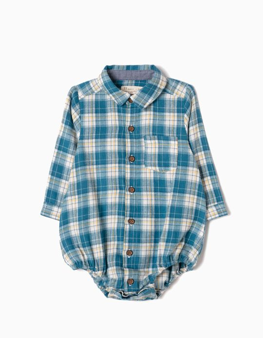 Checked Shirt-Bodysuit with Pocket