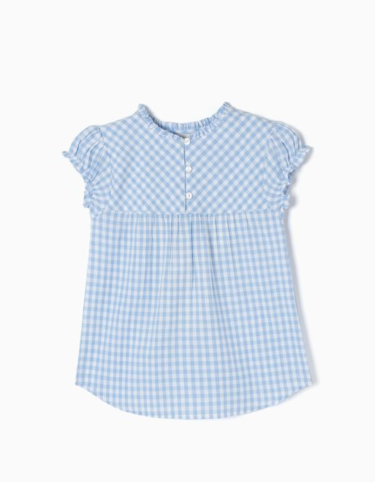 Blusa Xadrez Azul Claro
