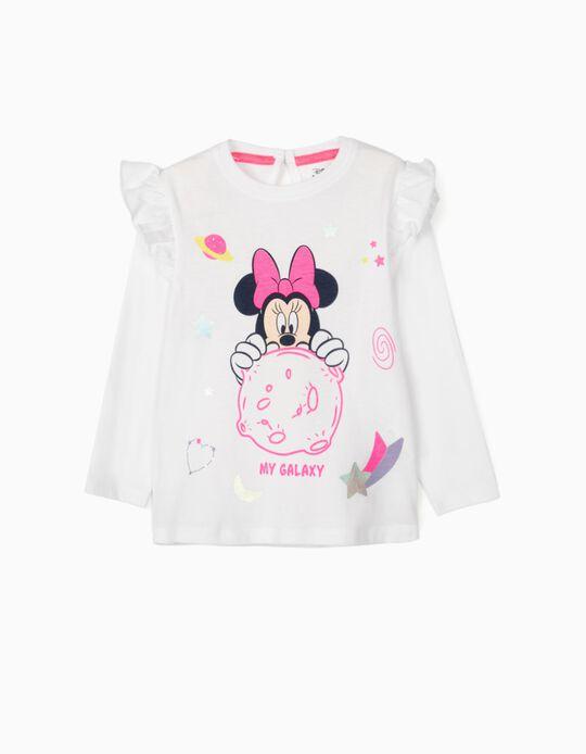 T-shirt Manga Comprida para Bebé Menina 'Minnie Galaxy', Branco