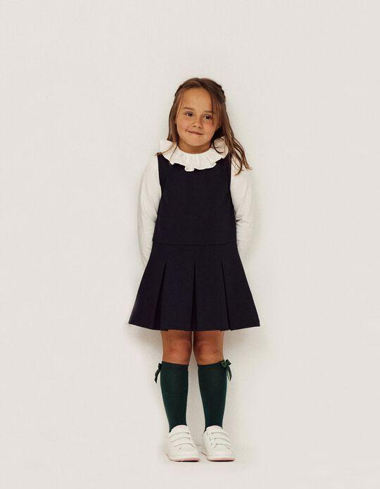 Pleated Dress for Girls, Dark Blue