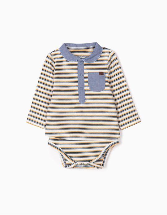 Body-Polo para Recém-Nascido 'Riscas', Branco/Azul