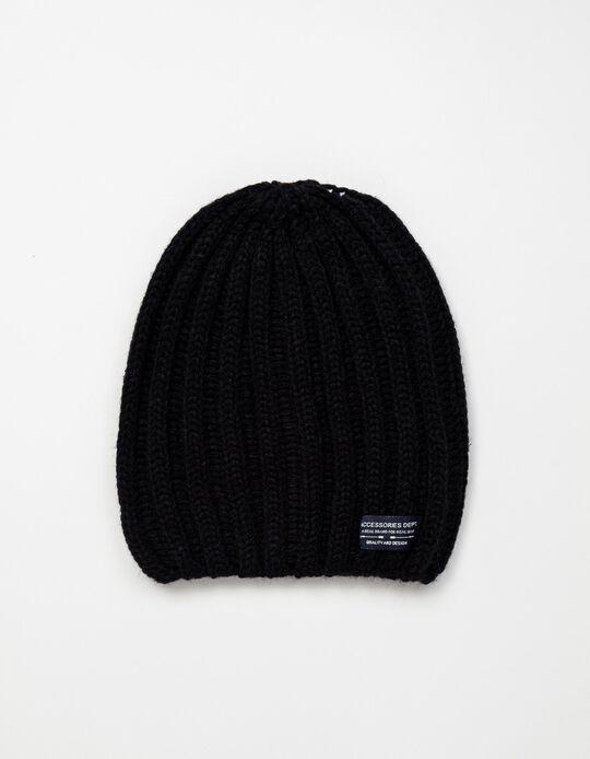 Rib Knit Beanie, Men, Black