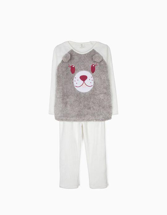 Pijama Polar Ursinho Cinza e Branco
