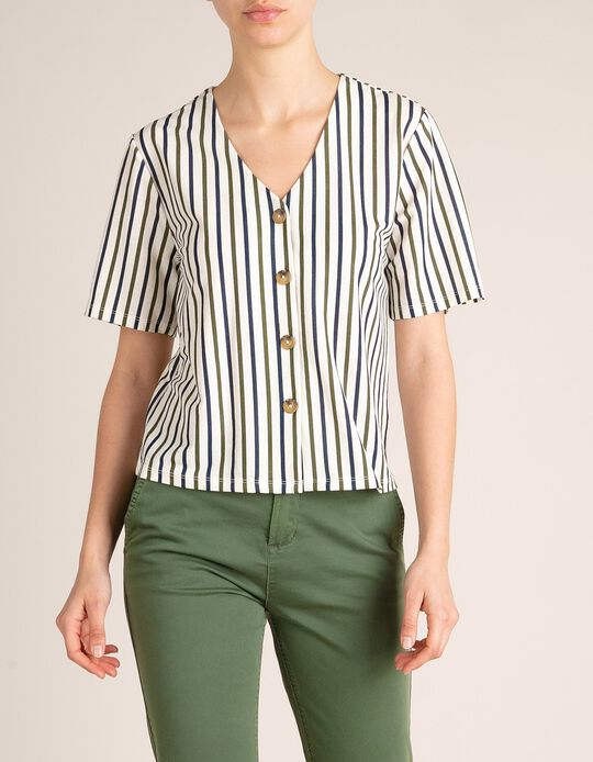 Cropped Blouse with Stripes