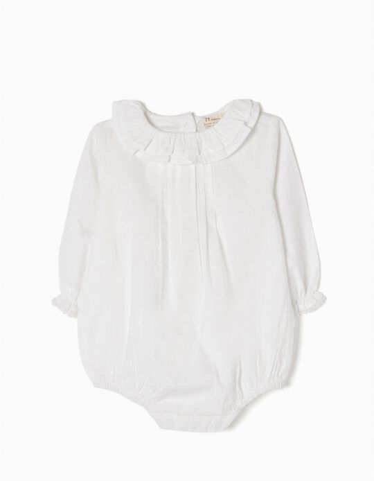 White Blouse-Bodysuit with Frills