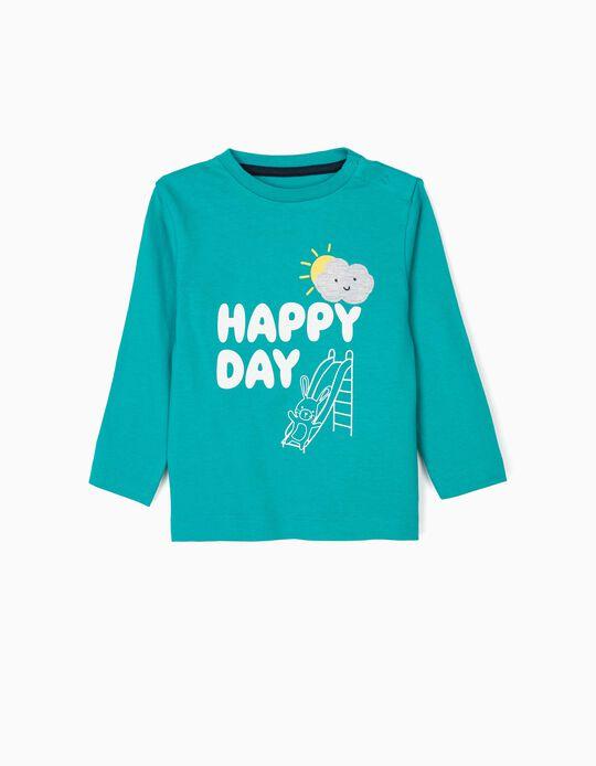 T-shirt Manga Comprida para Bebé Menino 'Happy Day', Verde-Azulada