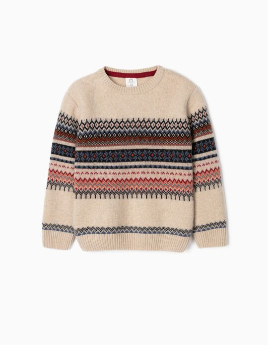 Knit Jumper with Jacquard for Boys, Beige