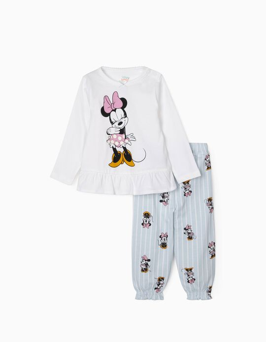 Pyjamas for Baby Girls, 'Minnie Mouse', White/Blue