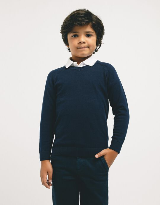 Knit Sweater for Boys, Dark Blue