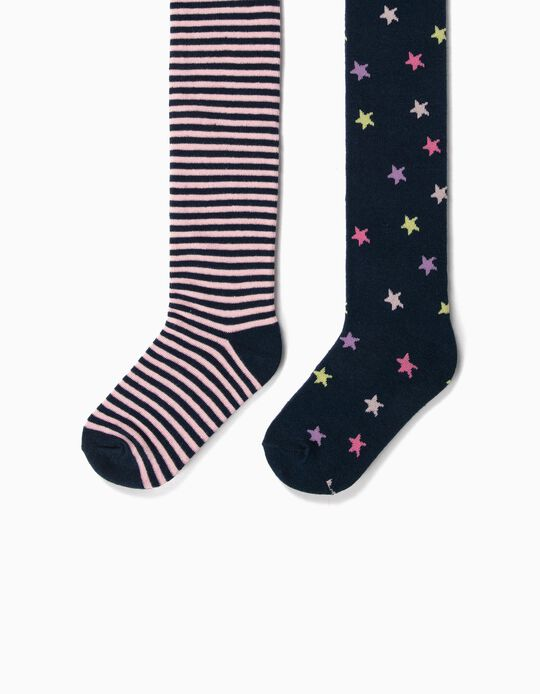 2 Pairs of Fine Knit Tights for Girls, 'Stars & Stripes', Dark Blue
