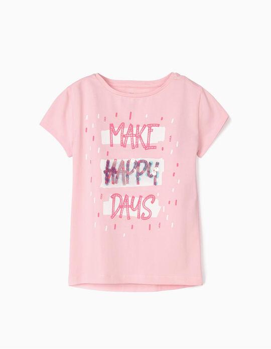 T-shirt para Menina 'Make Happy Days', Rosa