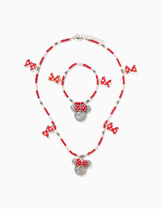 Necklace and Bracelet for Girls, 'Minnie Mouse', Red/White/Silvery