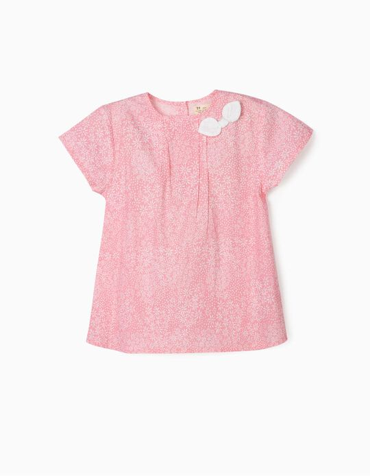 Blouse for Girls, 'Flowers', Pink