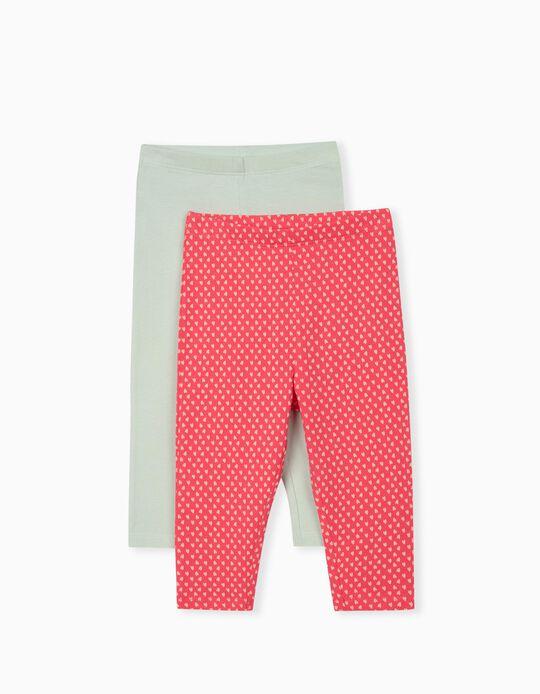 2 Pairs Leggings for Baby Girls, Aqua Green/ Pink