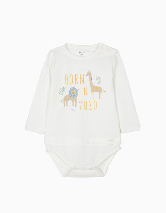 Body para Recém-Nascido 'Born in 2020', Branco