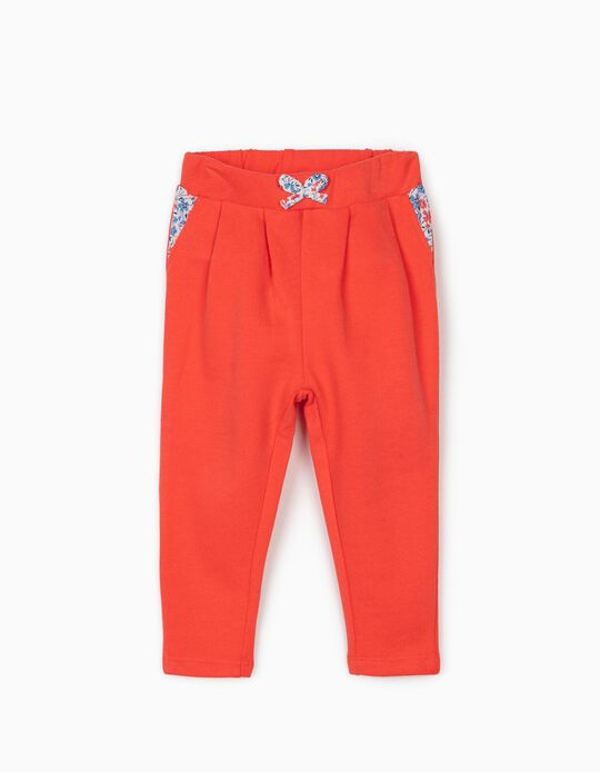 Joggers for girls 'Flowers', Coral