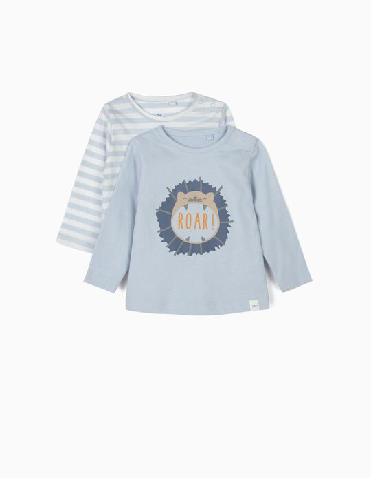 2 Long-sleeve T-shirts for Newborn Boys 'Born in 2020', Blue
