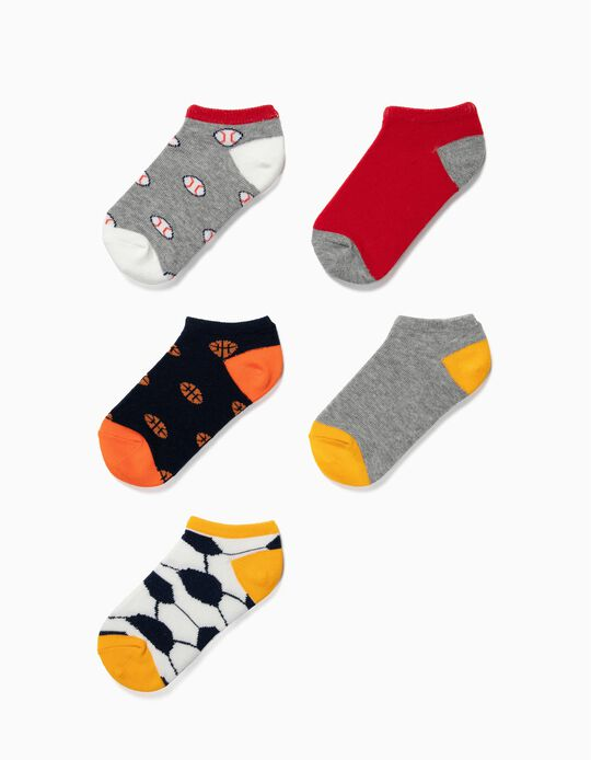 5-Pack Pairs of Ankle Socks for Boys 'Sports', Multicolour