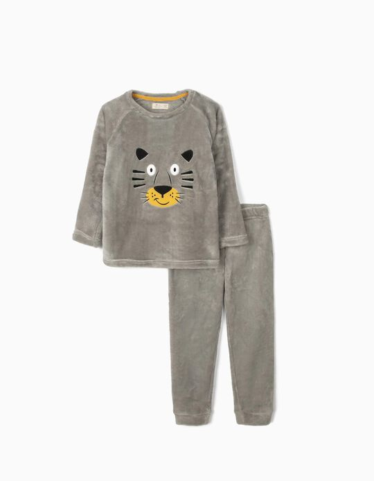 Minky Fabric Pyjamas for Boys 'Tiger', Grey