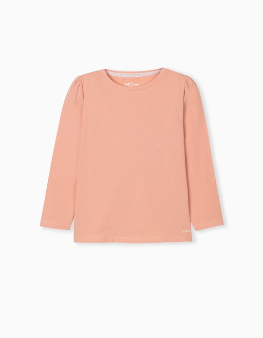Long Sleeve Top for Girls, Salmon