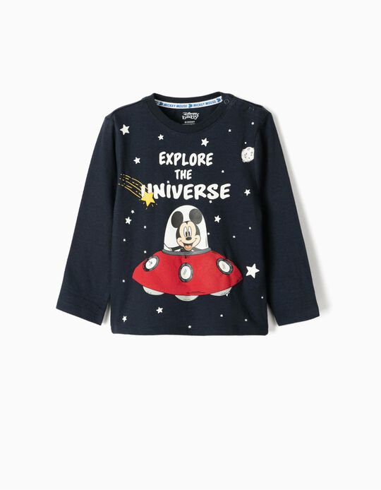 T-shirt Manga Comprida para Bebé Menino 'Mickey Universe', Azul