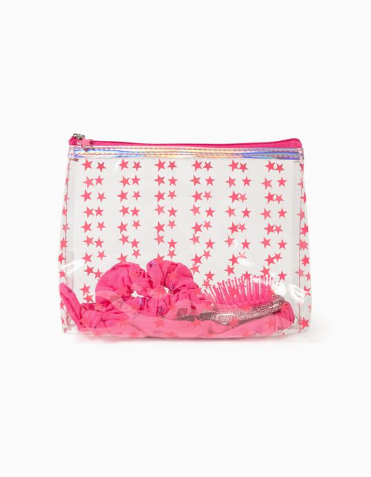 Toiletry Bag with Hair Accessories for Girl 'Stars', Transparent/Pink