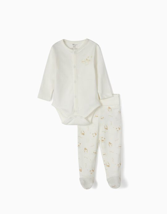 Bodysuit and Trousers for Newborn 'Friends', White