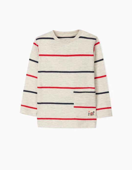 Long Sleeve T-Shirt for Baby Boys 'Stripes', Marl Beige