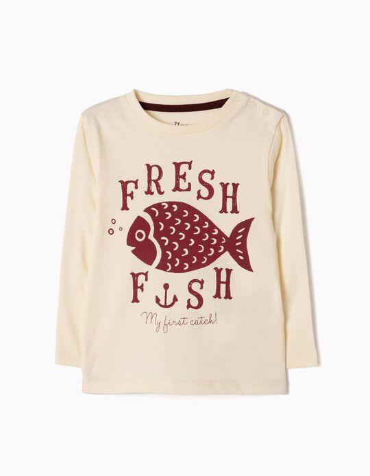 T-shirt Manga Comprida Fish Branca