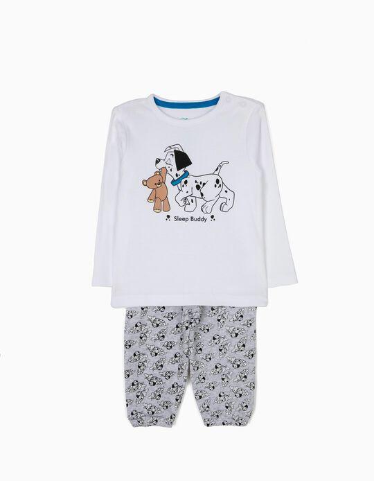 Pijama Manga Comprida e Calças 101 Dálmatas Branco e Cinza