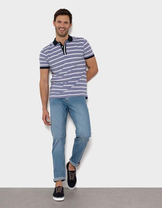 Piqué Knit Polo Shirt for Men, Stripes