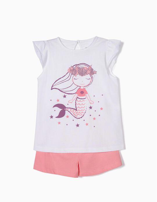 Pijama para Menina 'Mermaid', Branco e Rosa