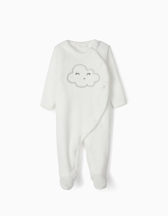 Sleepsuit in Minky Fabric for Newborn Babies 'Cloud', White